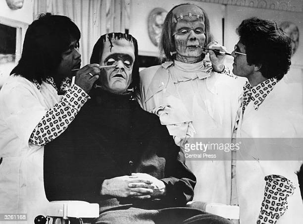 Visitors to the Universal Studios in Hollywood are transformed into Frankenstein's monster by professional make-up artists.
