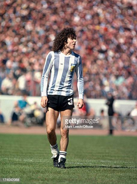 02 June 1979 International football Scotland v Argentina Argentinian defender Alberto Tarantini with exposed legs in his short shorts and rolled down...