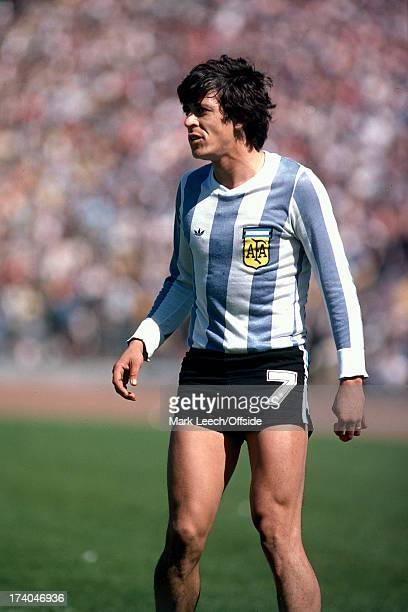 02 June 1979 International football Scotland v Argentina Argentinian Rene Houseman stands in his short shorts with his socks down
