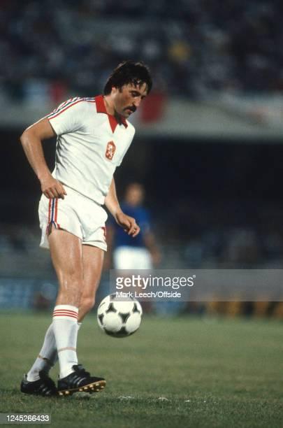 June 1980 Naples, UEFA European Football Championships - Czechoslovakia v Italy - Antonin Panenka of Czechoslovakia chips a penalty kick (