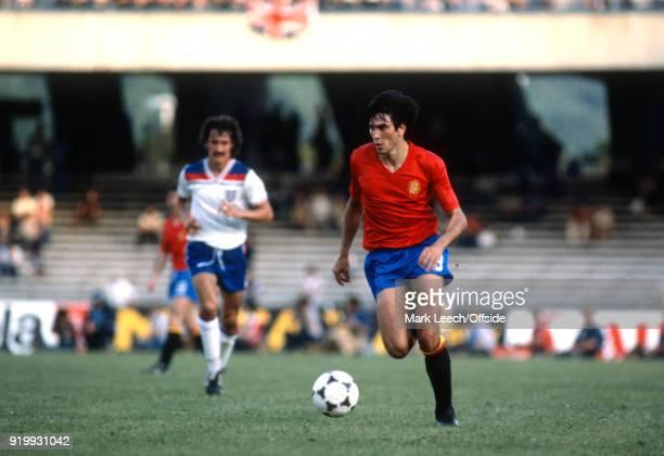 18 June 1980 Napoli European Football Championships Spain v England Carrasco of Spain