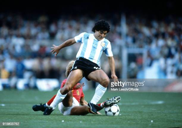 FIFA World Cup Belgium v Argentina Diego Maradona of Argentina is tackled from behind by Ludo Coeck of Belgium