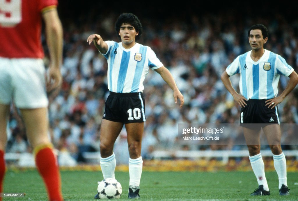 13 June 1982 Barcelona, FIFA World Cup opening match Argentina v Belgium, Diego Maradona and Osvaldo Ardiles of Argentina preparing to take a free kick