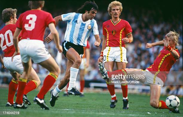 13 June 1982 Fifa World Cup Argentina v Belgium Mario Kempes runs amongst the Belgian defenders