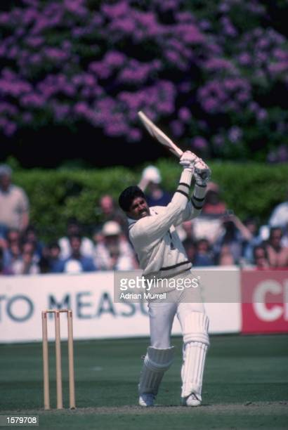 Kapil Dev of India crashes another boundary during his innings of 175 not out in a Cricket World Cup match against Zimbabwe