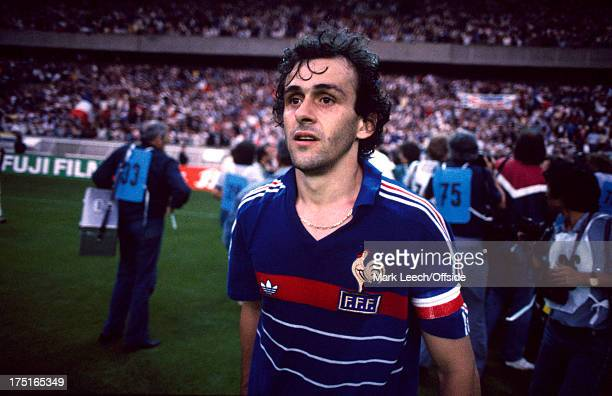 June 1984 European Football Championship Final - France v Spain - Captain Michel Platini walks off the pitch, leaving the other French players to...