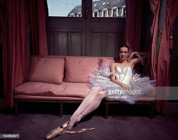 June 1985 Sylvie Guillem youngest star of the Paris Opera poses in the romantic tutu of 'Swan Lake' in his box