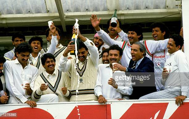 The Indian team celebrates winning the second test against England at Headingley in Leeds, England. \ Mandatory Credit: Adrian Murrell /Allsport