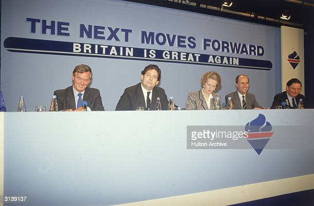 British Conservative politicians, John Moore, Nigel Lawson, Margaret Thatcher, Norman Tebbit and Paul Channon during the general election campaign.