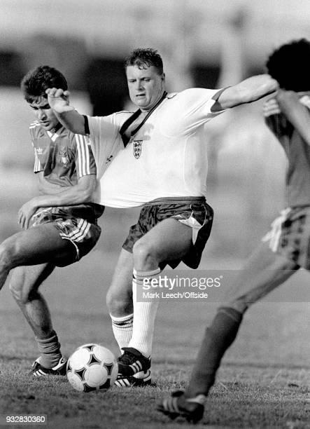 13 June 1987 Toulon Espoirs Under21 International Football Tournament England v Portugal Paul Gascoigne of England has his shirt pulled