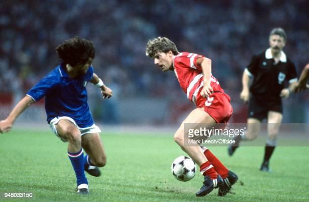 17 June 1988 Cologne UEFA European Football Championships Italy v Denmark Michael Laudrup of Denmark on the ball
