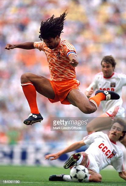 25 June 1988 European football championships final Netherlands v Soviet Union Netherlands captain Ruud Gullit leaps over the leg of Sergei Aleinikov...
