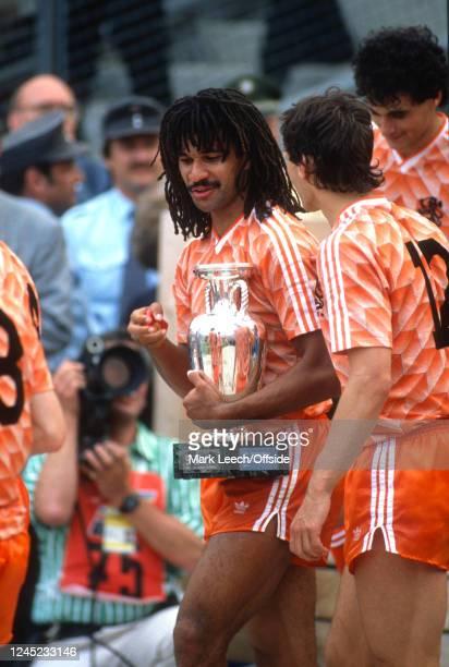June 1988 Munich - UEFA Euro 1988 Final - Soviet Union v Netherlands - Netherlands captain Ruud Gullit with the trophy -