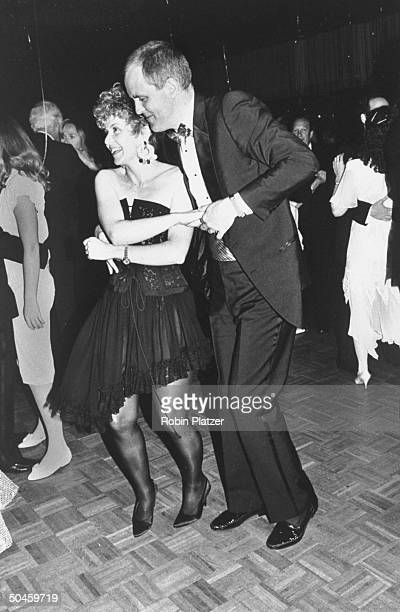 Actor John Lithgow dancing with his wife Mary Yeager at Tony Awards party in the New York Hilton