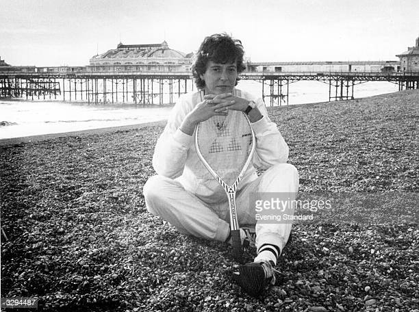 British tennis player Jo Durie relaxes on the beach at Brighton