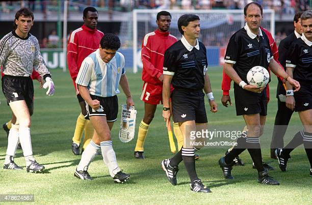 08 June 1990 FIFA World Cup Argentina v Cameroon Argentinean captain Diego Maradona looks pumped up and ready for action as he leads out his team...