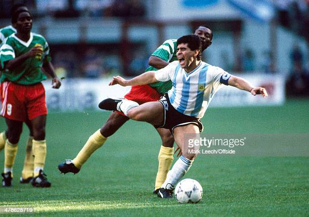 08 June 1990 FIFA World Cup Argentina v Cameroon Argentinean captain Diego Maradona yells as he is tackled