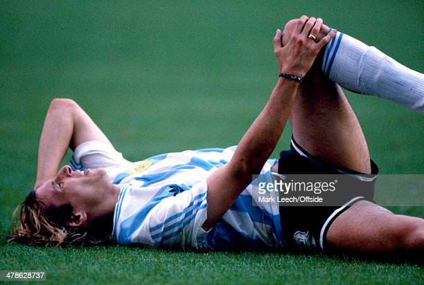 08 June 1990 FIFA World Cup Argentina v Cameroon Claudio Caniggia of Argentina lies on the floor with an injury