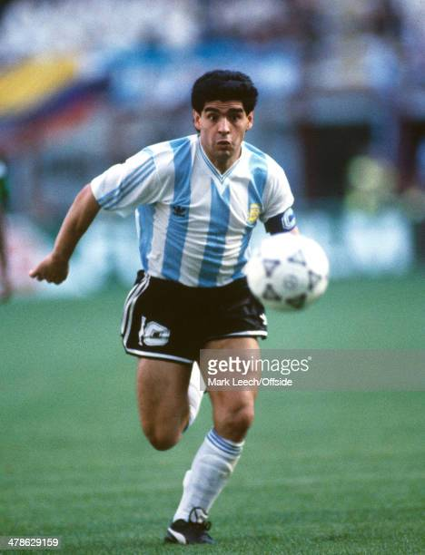 08 June 1990 FIFA World Cup Argentina v Cameroon Diego Maradona of Argentina in action