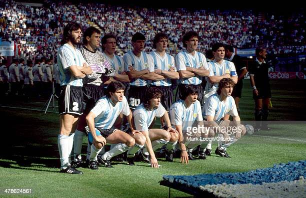 08 June 1990 FIFA World Cup Argentina v Cameroon The Argentina starting line up pose for a photo before the match