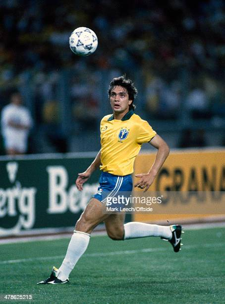 10 June 1990 FIFA World Cup Brazil v Sweden Branco in action for Brazil