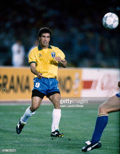10 June 1990 FIFA World Cup Brazil v Sweden Careca of Brazil in action