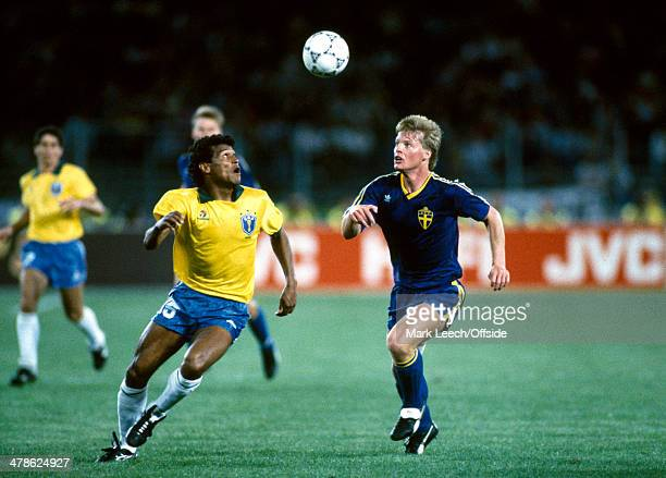 10 June 1990 FIFA World Cup Brazil v Sweden Muller of Brazil in action faced by Stefan Schwarz of Sweden