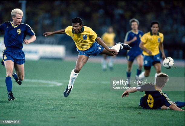 10 June 1990 FIFA World Cup Brazil v Sweden Muller of Brazil is tackled by Stefan Schwarz of Sweden watched by Peter LARSSON