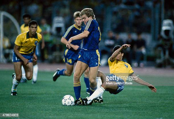 10 June 1990 FIFA World Cup Brazil v Sweden Tomas Brolin in action for Sweden