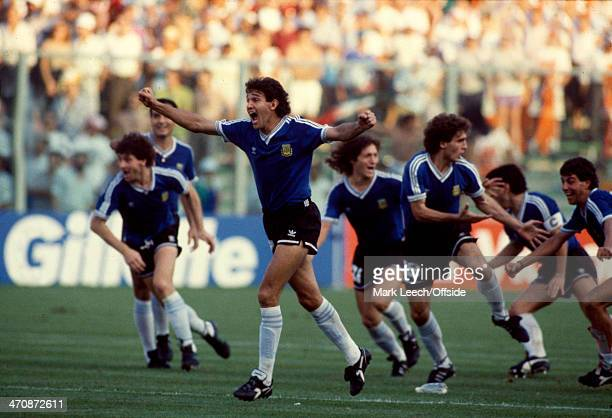 30 June 1990 Fifa World Cup Quarter Final Yugoslavia v Argentina Jorge Burruchaga of Argentina celebrates the victory on penalties