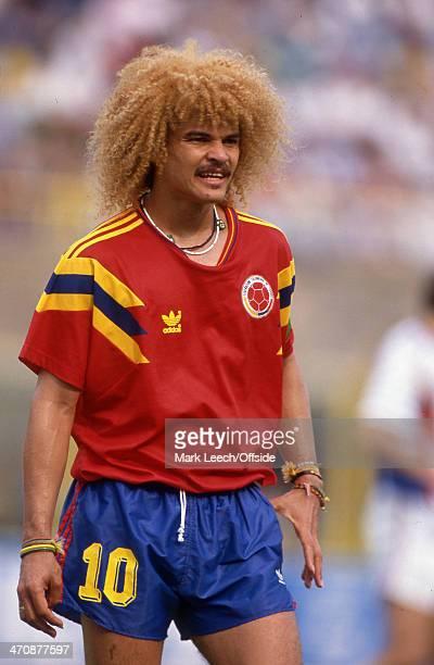 14 June 1990 FIFA World Cup Yugoslavia v Colombia Carlos Valderrama captain of Colombia