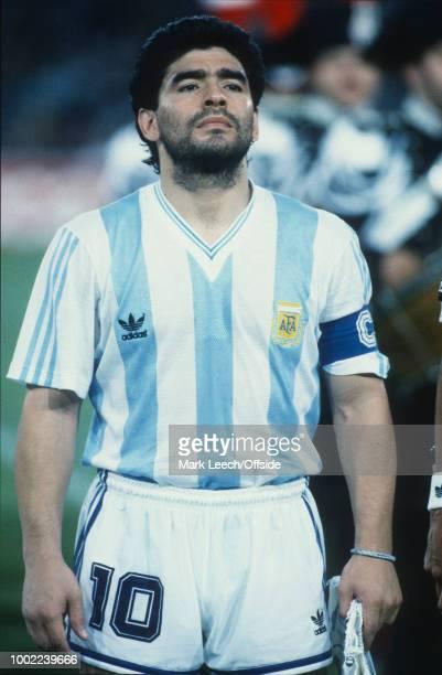 18 June 1990 Naples FIFA World Cup Argentina v Romania Diego Maradona of Argentina