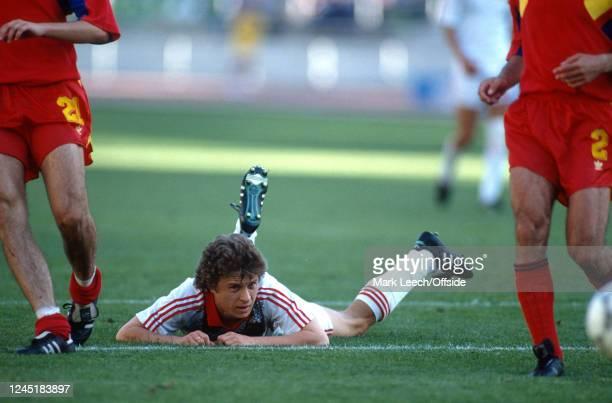 June 1990 - World Cup 1990 - Soviet Union v Romania - Alex Zavarov of Soviet Union is left on the ground -
