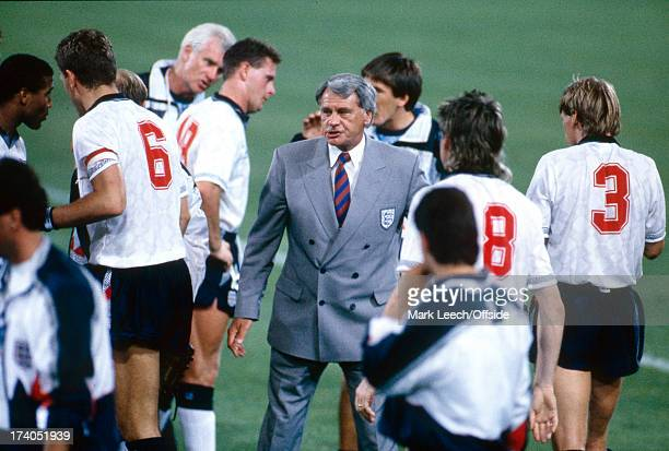 26 June 1990 World Cup England v Belgium England manager Bobby Robson organises his team ahead of extra time
