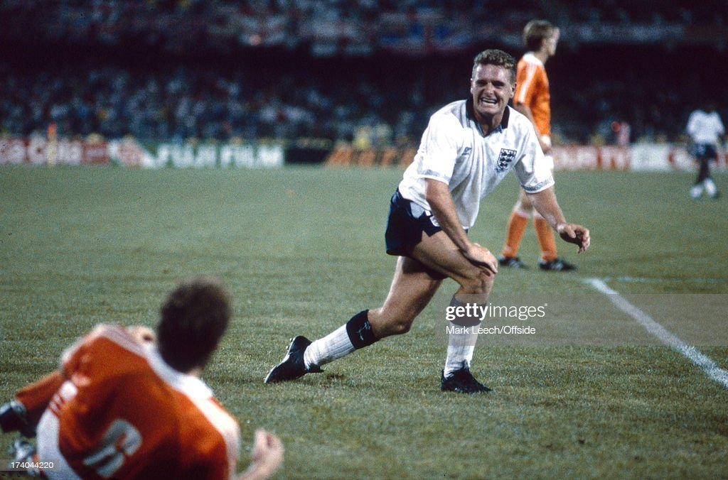 16 June 1990 - World Cup - England v Netherlands, Paul Gascoigne taunts Wouters with a grimace after he had tackled the Dutch player, .