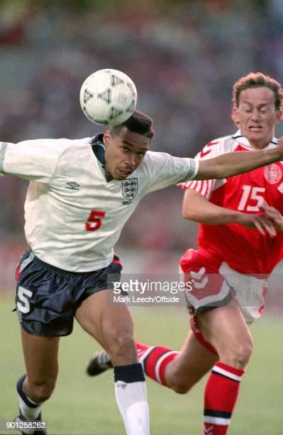11 June 1992 Malmo UEFA European Football Championship Denmark v England Des Walker in action for England