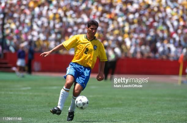 June 1994, FIFA World Cup, Palo Alto, Brazil v Cameroon: Jorginho of Brazil with the ball.