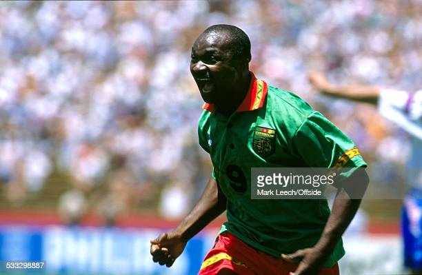 28 June 1994 Fifa World Cup Russia v Cameroon Roger Milla of Cameroon celebrates his record breaking goal