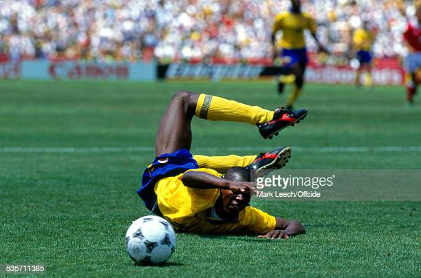 26 June 1994 Fifa World Cup Switzerland v Colombia Faustino Asprilla of Colombia lands awkwardly