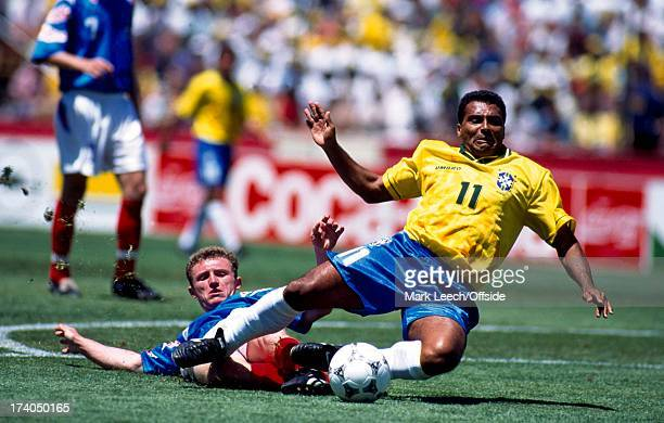 20 June 1994 Football World Cup 1994 Brazil v Russia Romario is fouled in the box for a penalty