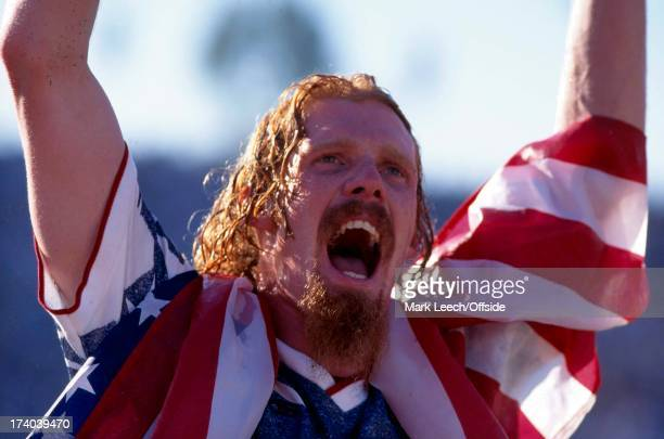 22 June 1994 Football World Cup 1994 Colombia v USA Alexei Lalas celebrates