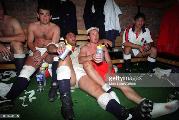 04 June 1994 International Rugby South Africa v England Tired England players relax in the dressing room after beating South Africa l to r Will...