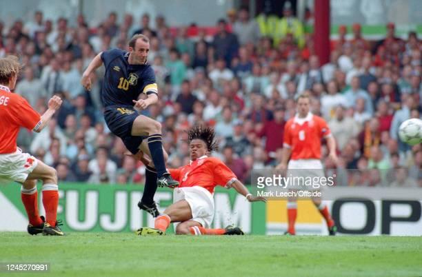 June 1996 - Euro 96 - Group Stage - Netherlands v Scotland - Gary McAllister of Scotland shoots towards goal. -