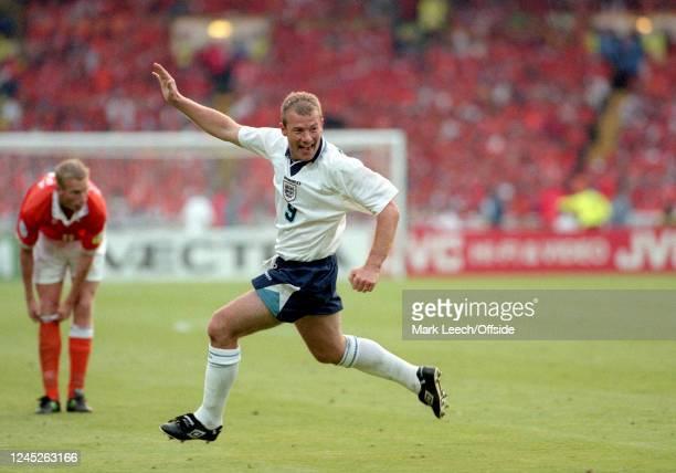 June 1996 Wembley- UEFA European Football Championships - Netherlands v England - Alan Shearer celebrates after scoring a goal for England -