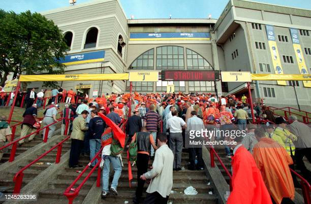 June 1996 Wembley- UEFA European Football Championships - Netherlands v England - fans line up the stairway to Wembley Stadium before the match -