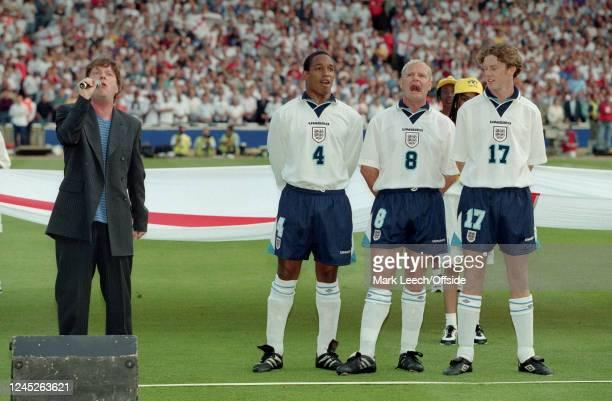 June 1996 Wembley- UEFA European Football Championships - Netherlands v England - Paul Ince, Paul Gascpigne and Steve McManaman sing the national...