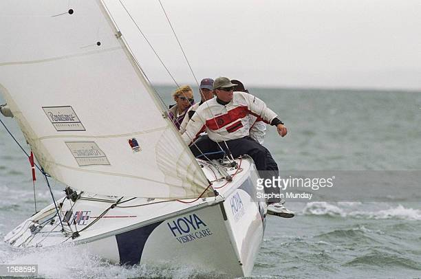 Andy Green of Great Britain during the Hoya Royal Lymington Cup Britain's only grade 1 match racing event in the Solent near Southampton Mandatory...