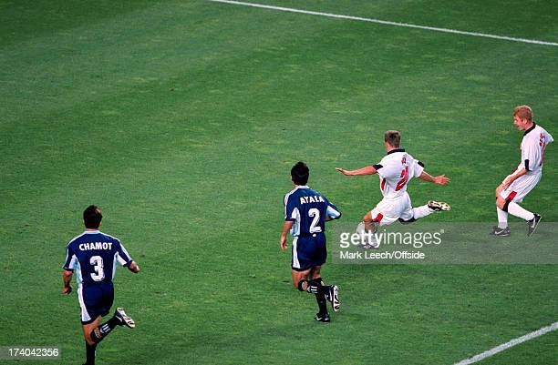 30 June 1998 Fifa World Cup England v Argentina Michael Owen scores a wonder goal for England watched by Paul Scholes Jose Chamot and Robert Ayala