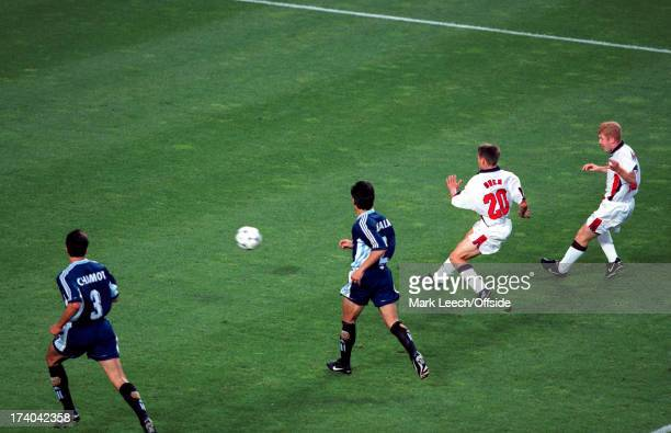 30 June 1998 Fifa World Cup England v Argentina Michael Owen scores a wonder goal for England watched by Paul Scholes