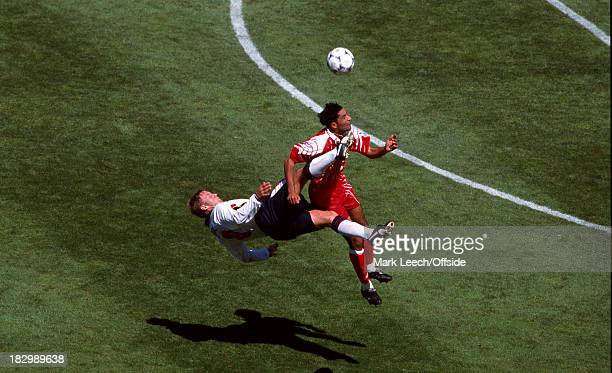15 June 1998 FIFA World Cup England v Tunisia David Batty connects with Tunisian player Imed BEN YOUNES as he tries a spectacular overhead kick